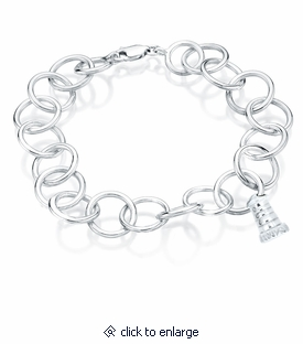 Lighthouse Charm Round Link Sterling Silver Cremation Jewelry Bracelet
