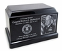 Military Black Granite Olympus Cremation Urn with Engraved Photo