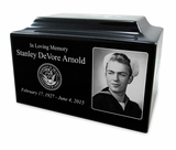 Military Black Granite Standard Size Cremation Urn Vault with Engraved Photo