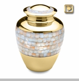 Mother of Pearl Brass Cremation Urn by LoveUrns