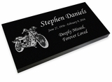 Motorcycle Grave Marker Black Granite Laser-Engraved Memorial Headstone