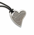 Open Heart Thumbies 3D Fingerprint White Bronze Keepsake Memorial Pendant