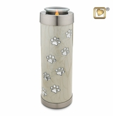 Pearl Paw Prints Tall Tealight Candle Brass Pet Cremation Urn