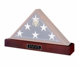 Pedestal Cremation Urn for a Flag Display Case in Walnut or Dark Cherry Finish