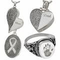 People Fingerprint Footprint and Handprint Cremation Jewelry That Holds Ashes