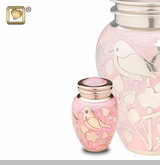 Pink with Gold Blessing Birds Brass Keepsake Cremation Urn