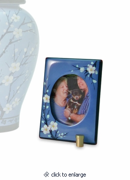 Plum Blossom Hand Painted Ceramic Keepsake Photo Frame Cremation Urn