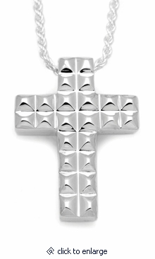 Pyramid Cross Sterling Silver Cremation Jewelry Pendant Necklace
