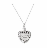 Remembered Always Heart Sterling Silver Cremation Jewelry Necklace