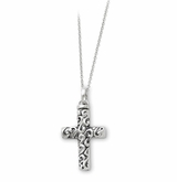 Remembrance Cross Antiqued Sterling Silver Cremation Jewelry Necklace