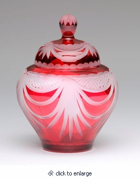 Rose Majestic Drape Lead Crystal Small Cremation Urn