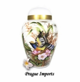 Secret Garden Flying Bird White Glass Cremation Urn