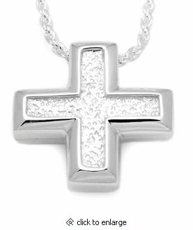 Short Sand Textured Cross Sterling Silver Cremation Jewelry Pendant Necklace