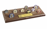 Six Row Military Challenge Coin Rack in Walnut