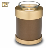 Tealight Candle Auburn Brass Keepsake Cremation Urn