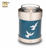 Tealight Candle Flying Doves Brass Keepsake Cremation Urn
