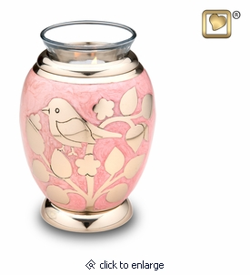 Tealight Candle Gold Blessing Birds Brass Keepsake Cremation Urn