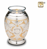 Tealight Candle Ornate Floral Brass Keepsake Cremation Urn