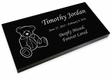 Teddy Bear Grave Marker Black Granite Laser-Engraved Infant-Child Memorial Headstone