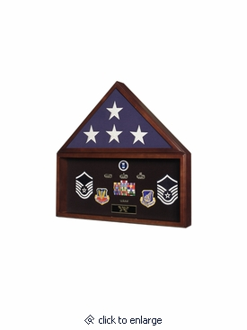 Veteran Flag Display Case with Memorabilia Display Case with Dark Cherry Finish