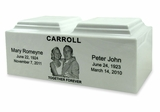 White Marble Companion Cremation Urn Vault with Engraved Photo