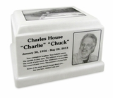 White Marble Olympus Cremation Urn with Engraved Photo