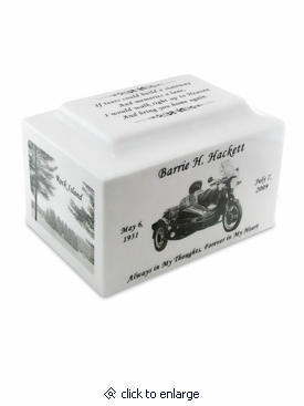 White Marble Small Cremation Urn with Engraved Photo