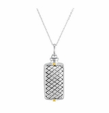 Woven Rectangle Sterling Silver Cremation Jewelry Necklace