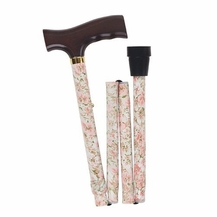 Lightweight Adjustable Folding Designer Cane, Beige Floral