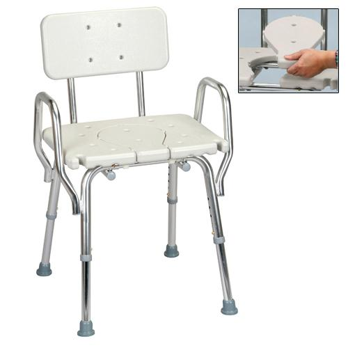 shower chair with arms back and replaceable cut out seat