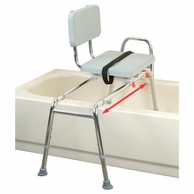 Sliding Transfer Bench with Padded Swivel Seat & Back