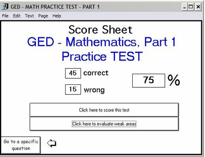 Get Your Score for the <br>GED Practice Test - Math Part 1