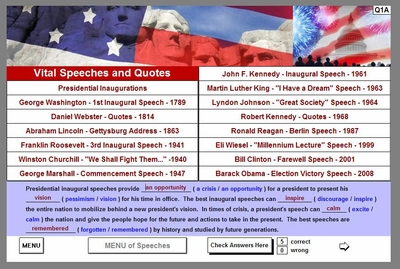 Speeches and Quotes<br>SubMENU