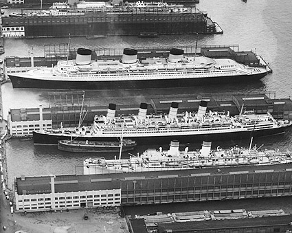 1939 Ocean Liners in New York City Harbor Photo Print