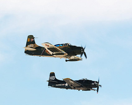 A-1 Skyraider Aircraft Pair in Flight Photo Print