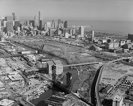 Aerial View of Railroad Bridges in Chicago Photo Print