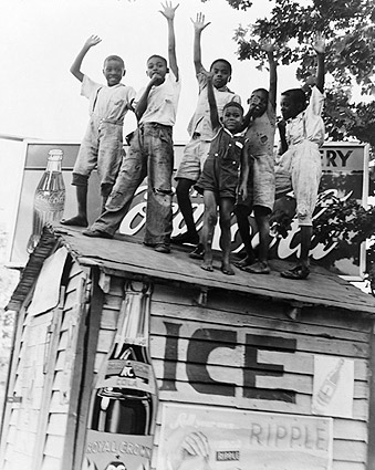 African American Boys w/ Coca Cola Sign Photo Print