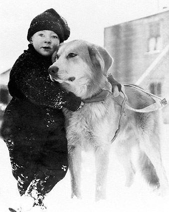 Alaskan Boy w/ Dog in Alaska Early 1900s Photo Print