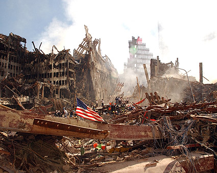 American Flag and Rescue Workers at Ground Zero  Photo Print