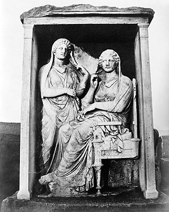 Ancient Greek Sculpture of Two Women Above Tomb Photo Print