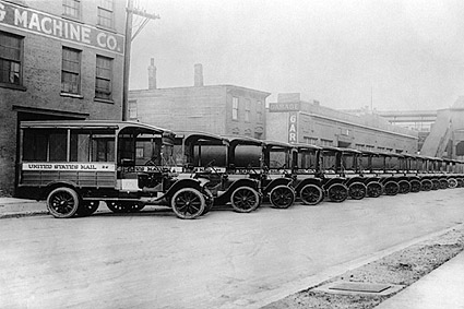 Antique 1920S U.S. Mail Trucks in New York Photo Print