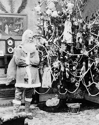 Antique Santa Claus & Christmas Tree 1897 Photo Print