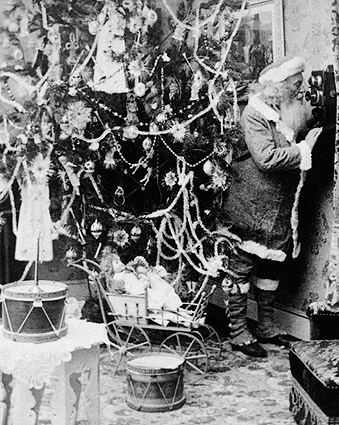 Antique Santa Claus Telephone Call 1897 Photo Print