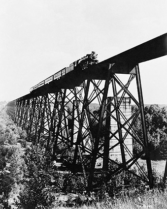 Antique Steam Train on Trestle Bridge 1946 Photo Print