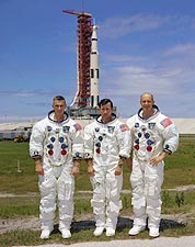 Apollo 10 Crew w/ Saturn V Rocket Photo Print for Sale