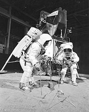 Apollo 11 Armstrong & Aldrin Training w/ Lunar Module Photo Print for Sale