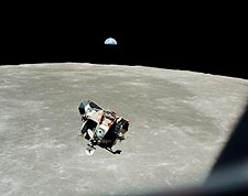 Apollo 11 Lunar Module, Moon and Earth Photo Print for Sale