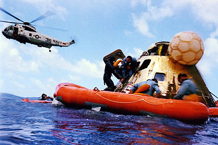 Apollo 12 Alan Bean Recovery w/ Helicopter Photo Print