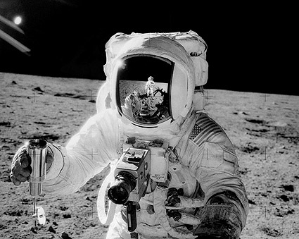 Apollo 12 Alan Bean w/ Sample on Moon Photo Print