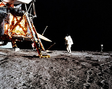Apollo 12 Astronaut Alan Bean & LM on Moon Photo Print